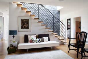 Contemporary Staircase with High ceiling, Metal staircase, Hardwood floors