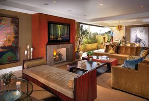 Contemporary Living Room with sandstone tile floors, Paint, can lights, stone tile floors, Fireplace, Upholstered couch