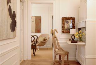 Eclectic Hallway with flush light, Chair rail, Laminate floors