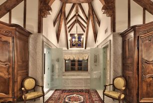 Traditional Master Bathroom with Chandelier, Casement, Paint 1, Master bathroom, Cathedral ceiling, Bathtub, drop in bathtub