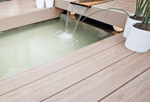 Contemporary Deck with Fountain, Pond, Fence, Pathway