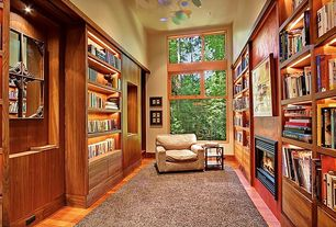 Craftsman Library with can lights, Hardwood floors, specialty window, Standard height, Built-in bookshelf