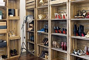 "Eclectic Closet with Closet system, Artiva USA Jumbo Studio/ Tripod 72"" Metal Floor Lamp, Stacked crate shelving, Floor lamp"