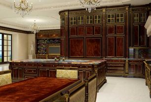 Traditional Kitchen with Crown molding, Complex Granite, High ceiling, Kitchen island, Flat panel cabinets, Glass panel