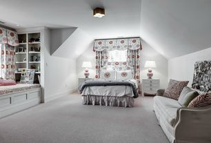 Traditional Master Bedroom with picture window, Standard height, flush light, Built-in bookshelf, Window seat, Carpet