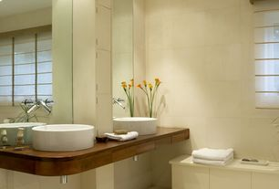 Contemporary Master Bathroom with can lights, Wall sconce, Master bathroom, European Cabinets, Standard height, Vessel sink