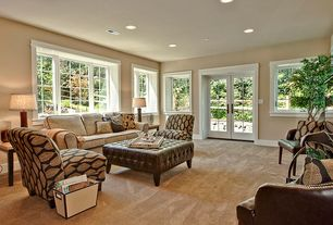 Traditional Living Room with Casement, Carpet, Standard height, French doors, can lights