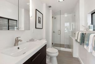 Contemporary 3/4 Bathroom with Custom Glass Shower Enclosure, Undermount sink, Signature Hardware Kyra Vanity, flush light
