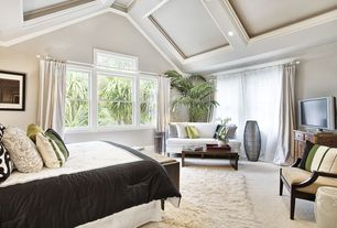 Contemporary Master Bedroom with Box ceiling, Nearly natural silk 6-ft. kentia tree, Woodland imports ceramic garden stool