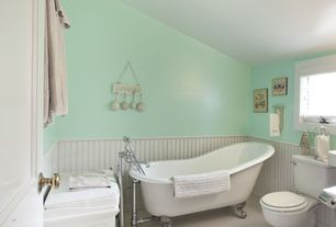 Cottage Full Bathroom with High ceiling, Ultra Acrylic Slipper Clawfoot Tub, penny tile floors, Clawfoot, Wainscotting