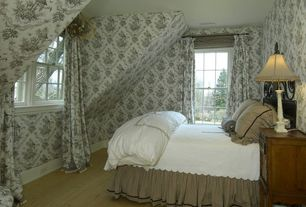 Traditional Guest Bedroom with Standard height, Casement, interior wallpaper, Laminate floors