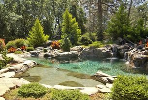 Cottage Landscape/Yard with exterior stone floors, Woodland setting, Naturalistic landscaping, Natural pool