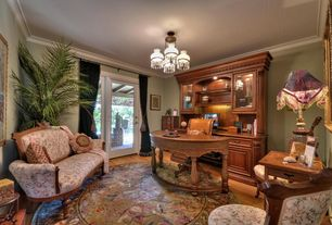 Traditional Home Office with Chandelier, French doors, Carpet, Crown molding, Laminate floors