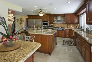 "Traditional Kitchen with Simple granite counters, 52"" minka delano ii dark restoration  ceiling fan, L-shaped, Kitchen island"