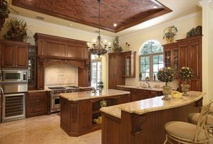 Traditional Kitchen with Casement, Arched window, High ceiling, Box ceiling, warming oven, Wine refrigerator, Glass panel