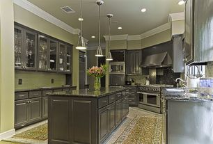 Contemporary Kitchen with Specialty Tile, High ceiling, U-shaped, Raised panel, Pendant light, Kitchen island, Glass panel