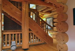 Rustic Staircase with Spiral staircase, Hardwood floors, High ceiling