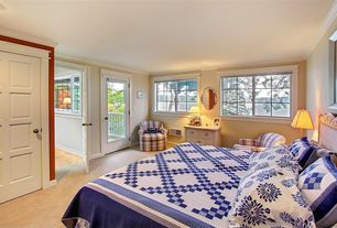Cottage Guest Bedroom with Crown molding, French doors, Carpet