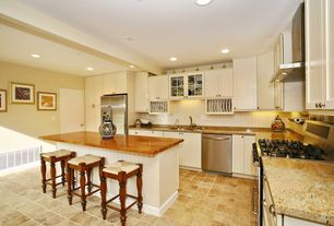 Cottage Kitchen with Breakfast bar, Wood counters, Large Ceramic Tile, Glass panel, Kitchen island, Simple granite counters