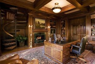 Traditional Home Office with can lights, Box ceiling, stone fireplace, Hardwood floors, Built-in bookshelf, flush light