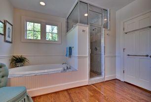 Traditional Master Bathroom with drop in bathtub, Casement, Wainscotting, Bathtub, Standard height, Master bathroom, Shower