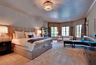 Contemporary Guest Bedroom with Bay window, Chandelier, Carpet, High ceiling, Chair rail, Crown molding