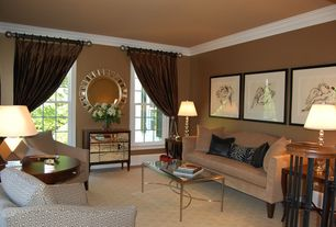 Art Deco Living Room with Crown molding, Carpet, High ceiling