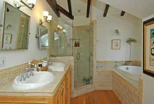 Master Bathroom Design Ideas image of master bathroom decorating ideas pictures Traditional Master Bathroom With Exposed Beam Double Sink Chesterfield Triple Handle Roman Tub Faucet
