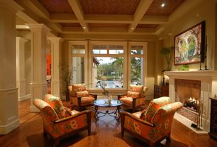 Traditional Living Room with Box ceiling, Hardwood floors, Columns