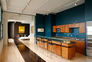 Contemporary Kitchen with Breakfast bar, High ceiling, European Cabinets, Flush, Bamboo floors, Glass counters, One-wall