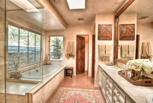 Eclectic Master Bathroom with Sauna, Limestone counters, Flat panel cabinets, Master bathroom, Limestone, Skylight