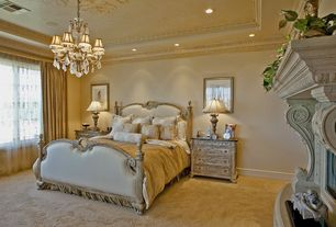 Traditional Guest Bedroom with Chandelier, Carpet, Crown molding