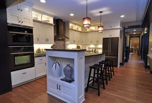 Traditional Kitchen with L-shaped, Soapstone counters, Pendant light, Flush, Kitchen island, Flat panel cabinets, Glass Tile