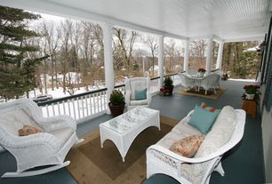 Cottage Porch with Deck Railing, Paint 2, Forever patio wicker naples coffee table, South sea rattan monaco wicker sofa
