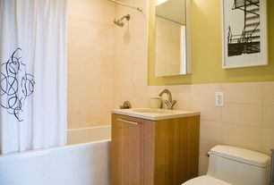 Contemporary Full Bathroom with bathroom sink, Shower head, European Cabinets, Frameless, Simple marble counters, Soaking