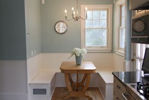 Cottage Dining Room with Paint, Breakfast nook, electric cooktop, Framed Partial Panel, Tms nook dining table, Casement