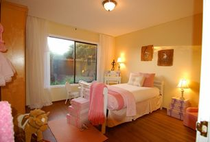 Country Guest Bedroom with flush light, no bedroom feature, Hardwood floors, picture window, Standard height