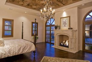 Traditional Guest Bedroom with Hardwood floors, Crystal Chandelier in Distressed Twilight Finish, High ceiling, Box ceiling