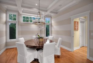 Contemporary Dining Room with Box ceiling, Transom window, Hardwood floors, High ceiling