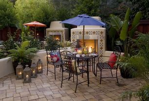 Mediterranean Patio with exterior stone floors, Fire pit