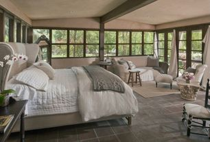 Cottage Guest Bedroom with COZY CABLE KNIT THROW, Pottery Barn Raleigh Upholstered Wingback Bed & Headboard, French doors