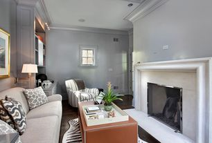 Contemporary Living Room with Hardwood floors, Hickory Chair Silhouettes English Arm Lounge Chair, Cement fireplace