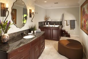 Traditional Full Bathroom with partial backsplash, Travertine counters, Undermount sink, Crown molding, Flat panel cabinets