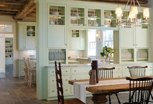 Cottage Dining Room with Eron Johnson Antiques American New England Painted Fan-Back Windsor Side Chair, Chandelier