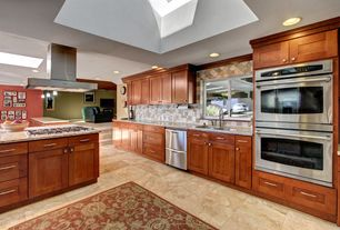 Contemporary Kitchen with Skylight, Simple granite counters, Kitchen island, European Cabinets, Stone Tile, L-shaped, Flush