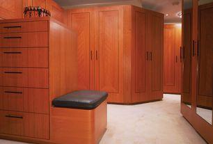 Craftsman Closet with Carpet, flush light, Built-in bookshelf