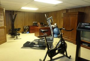 Traditional Home Gym with Carpet, Standard height, Schwinn 170 Upright Exercise Bike, Bosu Balance Trainer - Home Version