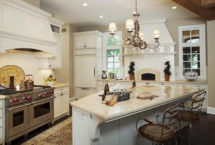 Country Kitchen with Simple granite counters, Custom hood, Mission Stone & Tile H Line - 3X6 Glossy Subway Tile - Cotton