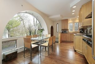 Contemporary Kitchen with Hardwood floors, Stone Tile, Complex Granite Tile, flush light, L-shaped, Complex granite counters