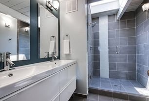 Contemporary Master Bathroom with Skylight, European Cabinets, Wall sconce, Flush, Double sink, Master bathroom, Rain shower